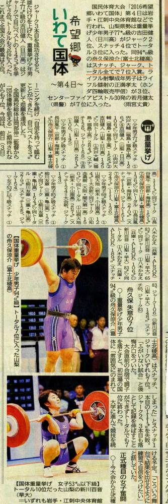 山日161005重量挙げ (国民体育大会)